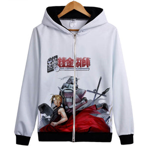 Fullmetal Alchemist Hoodies - Zip Up Anime Print Red Hoodie
