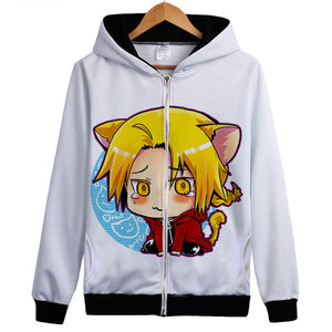Fullmetal Alchemist Hoodies - Zip Up Anime Crying Hoodie