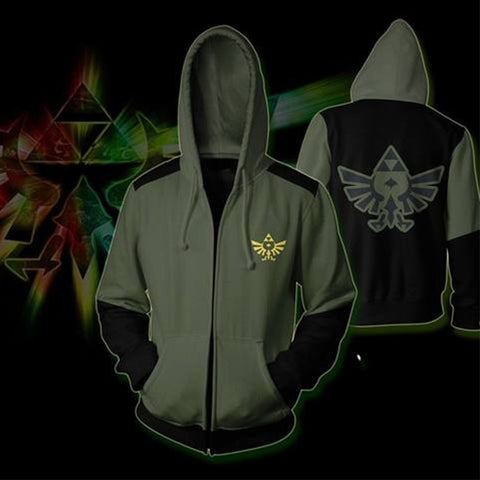 Image of The Legend of Zelda Hoodies - Zip Up Army Green Hoodie