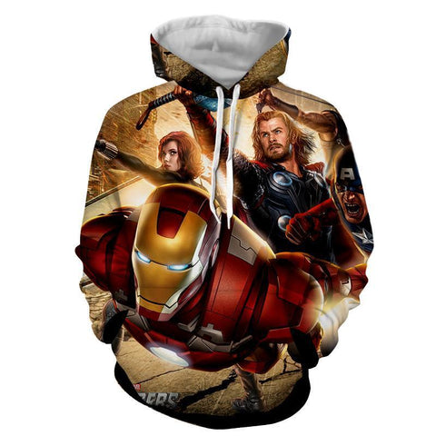 The Avengers Iron Man Thor Black Widow Hoodies - Pullover Yellow Hoodie