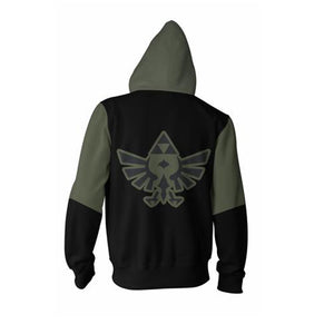The Legend of Zelda Hoodies - Zip Up Army Green Hoodie