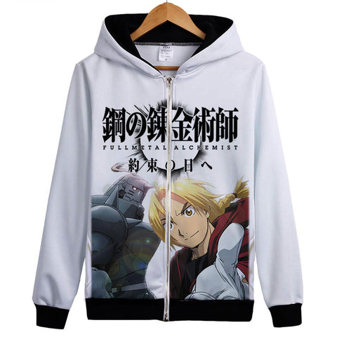 Fullmetal Alchemist Hoodies - Zip Up Anime Full Print Hoodie
