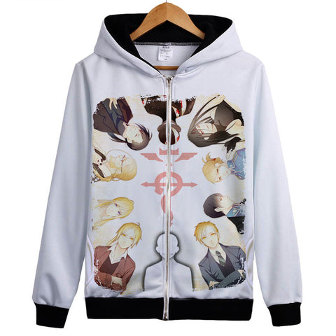 Fullmetal Alchemist Hoodies - Zip Up Anime Ten People Print Hoodie