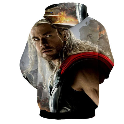 Image of The Avengers Thor Hoodies - Pullover White Hoodie