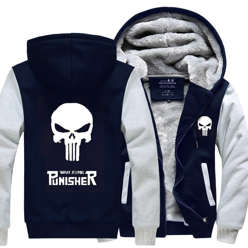 Punisher Jackets - Solid Color Punisher Movie Series Punisher Logo Sign Super Cool Fleece Jacket