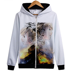 Fullmetal Alchemist Hoodies - Zip Up Anime Custom Hoodie