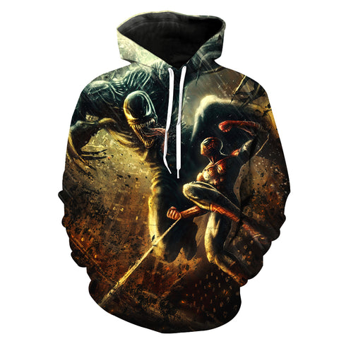 Image of Spiderman Hoodies - Venom vs. Spiderman 3D Super Cool Hoodie