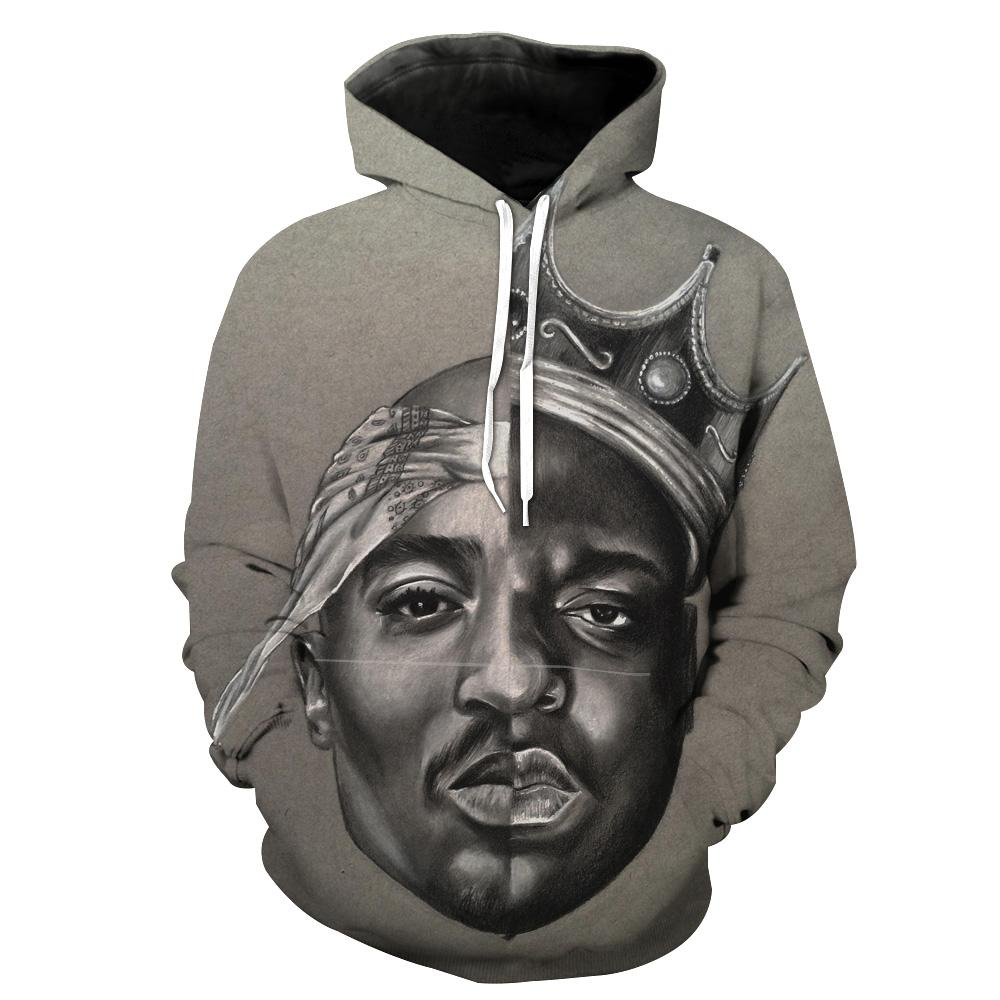 71d031b2a15 2Pac and Notorious Big Hoodies - Biggie Smalls Tupac Pullover Grey Hoo