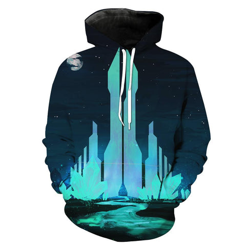 Fantasy Crystal City Hoodies - Pullover Blue Hoodie