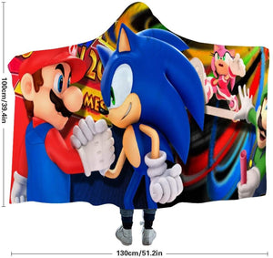 Mario Luigi Sonic Hooded Throw Blanket