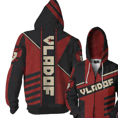 Borderlands Vladof  V2 Hoodies- Zip Up Red Hoodie