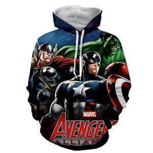 The Avengers  Captain America Thor Hulk Hoodies - Pullover Black Hoodie