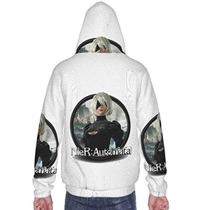 Nier Automata Hoodies - YoRHa No 2 Type B 2B 3D Print Zip Up Hooded Sweater for Teens