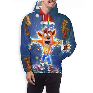 Crash Bandicoot Hoodies - Christmas Crash Bandicoot Mens 3D Print Hooded Pullover Sweatshirt