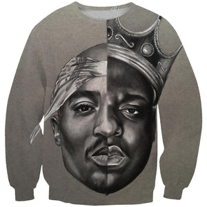 2Pac and Notorious Big Hoodies - Biggie Smalls Tupac Pullover Grey Hoodie
