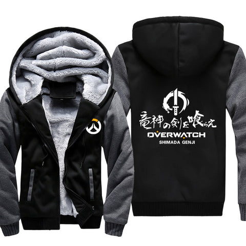 Image of Overwatch Jackets - Solid Color Overwatch Big Recruit Genji Icon Super Cool Jacket
