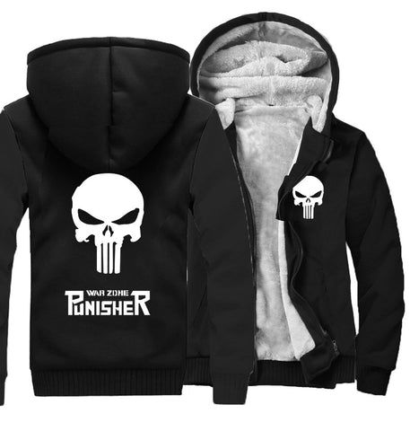 Image of Punisher Jackets - Solid Color Punisher Movie Series Punisher Logo Sign Super Cool Fleece Jacket