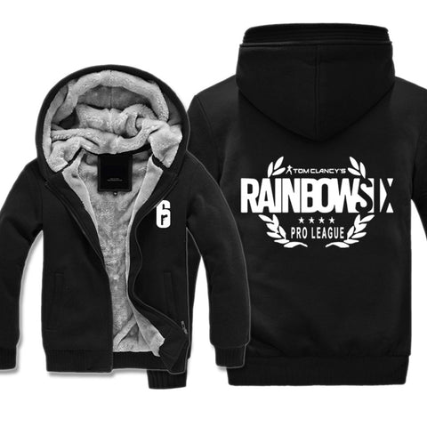 Image of Rainbow Six Jackets - Solid Color Rainbow Six Game White Icon Super Cool Fleece Jacket