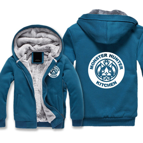 Image of Monster Hunter Jackets - Solid Color Monster Hunter Airou Icon Super Cute Fleece Jacket