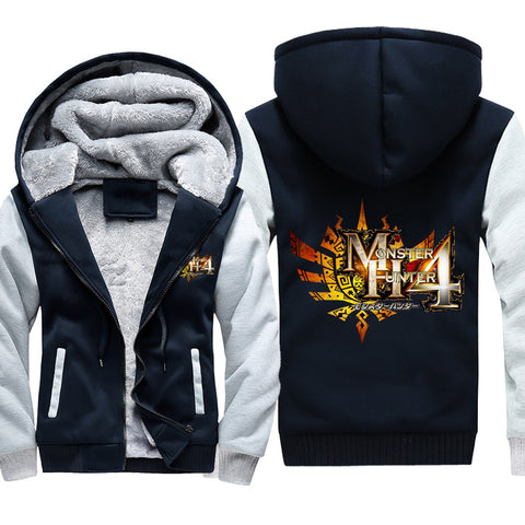 Image of Monster Hunter Jackets - Solid Color Monster Hunter Ray Wolf Dragon Icon Fleece Jacket
