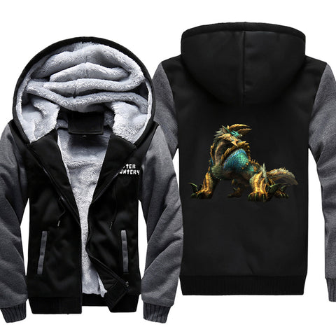 Monster Hunter Jackets - Solid Color Monster Hunter Game Ray Wolf Dragon Icon Super Cool Fleece Jacket