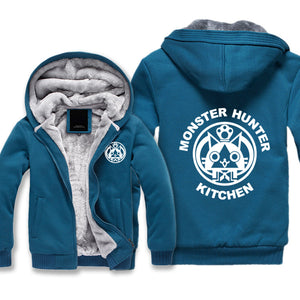 Monster Hunter Jackets - Solid Color Monster Hunter KITCHEN Airou Icon Super Cool Fleece Jacket