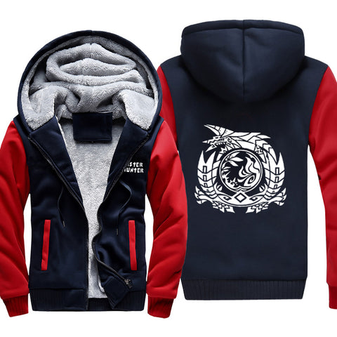 Image of Monster Hunter Jackets - Solid Color Monster Hunter Game Icon Super Cool Fleece Jacket
