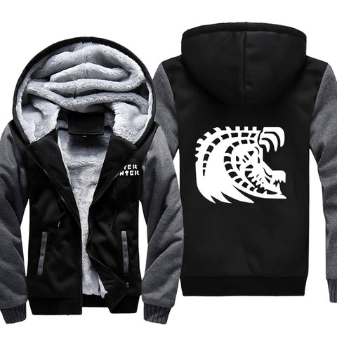 Monster Hunter Jackets - Solid Color Monster Hunter Black Eclipse Dragon Icon Super Cool Fleece Jacket