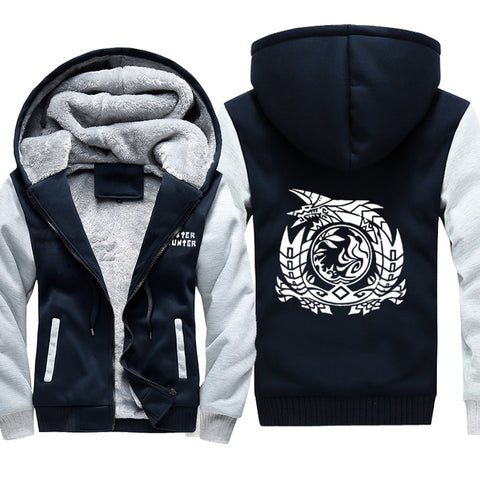 Monster Hunter Jackets - Solid Color Monster Hunter Game Icon Super Cool Fleece Jacket