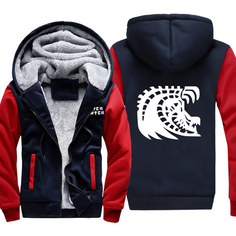 Image of Monster Hunter Jackets - Solid Color Monster Hunter Black Eclipse Dragon Icon Super Cool Fleece Jacket