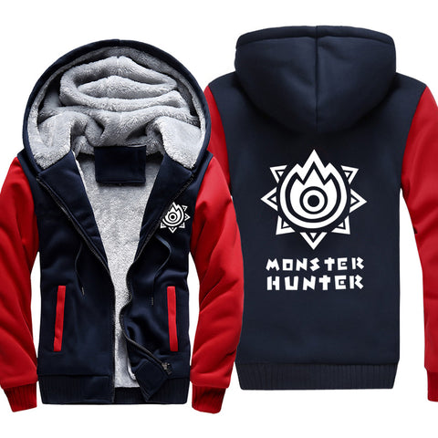 Image of Monster Hunter Jackets - Solid Color Monster Hunter Game LOGO Icon Super Cool Fleece Jacket