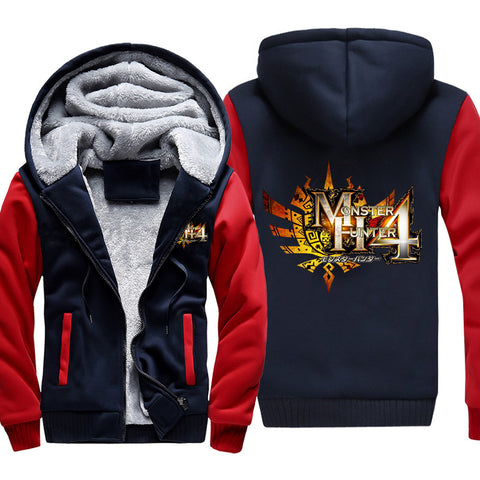 Monster Hunter Jackets - Solid Color Monster Hunter Ray Wolf Dragon Icon Fleece Jacket