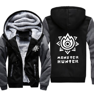 Monster Hunter Jackets - Solid Color Monster Hunter Game LOGO Icon Super Cool Fleece Jacket