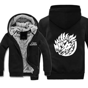 Monster Hunter Jackets - Solid Color Monster Hunter Broken Dragon Icon Super Cool Fleece Jacket