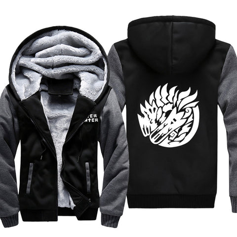 Image of Monster Hunter Jackets - Solid Color Monster Hunter Broken Dragon Icon Super Cool Fleece Jacket