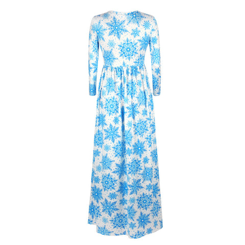 Image of Christmas Dresses - Long Sleeves Blue Printed Dress