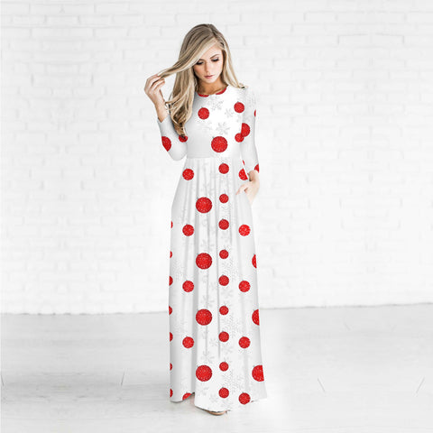 Christmas Dresses - Long Sleeves Red Dots Printed Dress