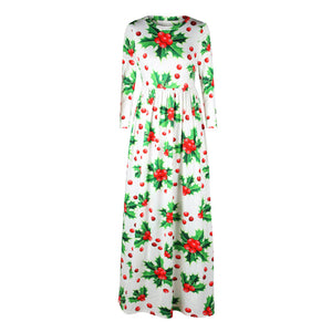 Christmas Dresses - Long Sleeves Cherry Printed Dress