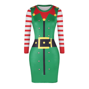 Christmas Dresses - Knee-Length Xmas Hat Print Dress