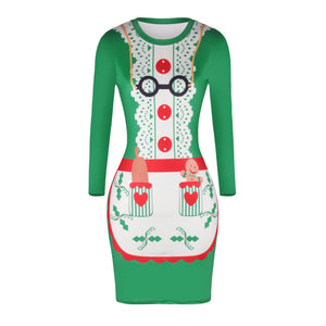 Christmas Dresses - Knee-Length Xmas Apron Print Dress