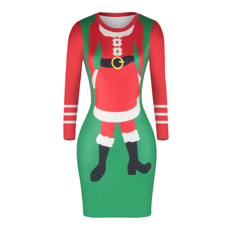 Christmas Dresses - Knee-Length Xmas Santa Trendy Dress