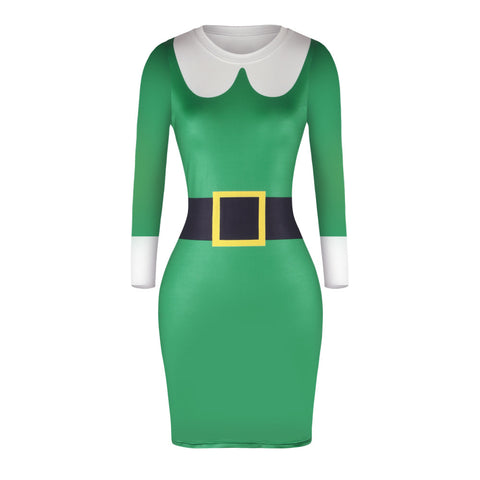 Christmas Dresses - Knee-Length Xmas Green Trendy Dress