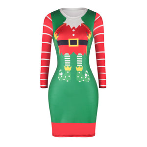 Christmas Dresses - Knee-Length Xmas Stripe Sleeves Dress
