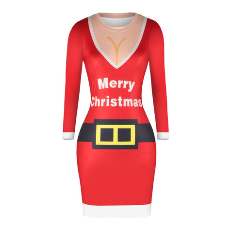 Christmas Dresses - Knee-Length Merry Xmas Bodycon Dress