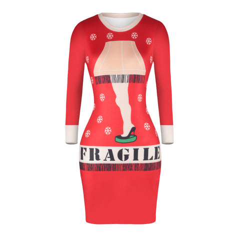 Christmas Dresses - Knee-Length Fragile Bodycon Dress