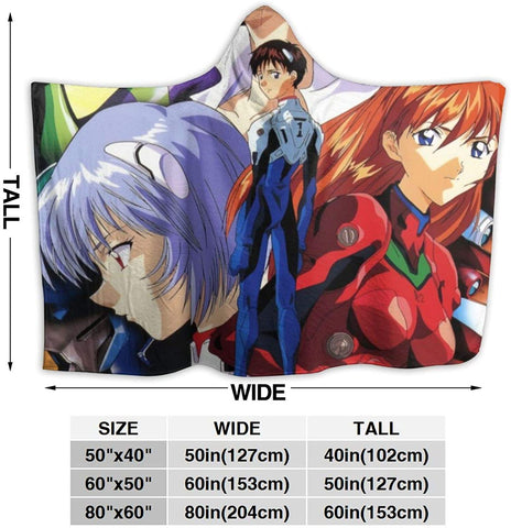 Neon Genesis Evangelion Hooded Blanket - Anime Wearable Throw Printed Blanket