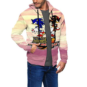 Cartoon Games Sonic Hoodie - Sonic Adventure 2 Battle 3D Print Zip Up Pink Hooded Sweatshirt