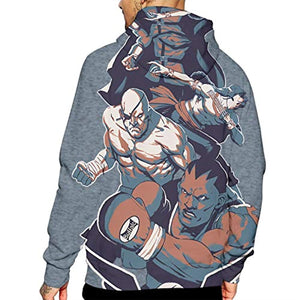 Street Fighter Hoodie - Sagat 3D Print Pullover with Pockets