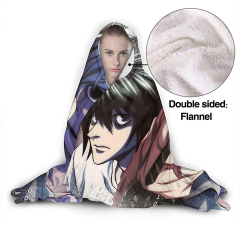 Death Note Printed Hooded Blanket - Anime Wearable Soft Throw Blanket