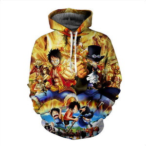Anime One Piece Monkey D Luffy 3D Hoodies - Cartoon Pullover Sweatshirt